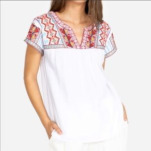 Johnny Was Ezra V Neck Crop Blouse NWT